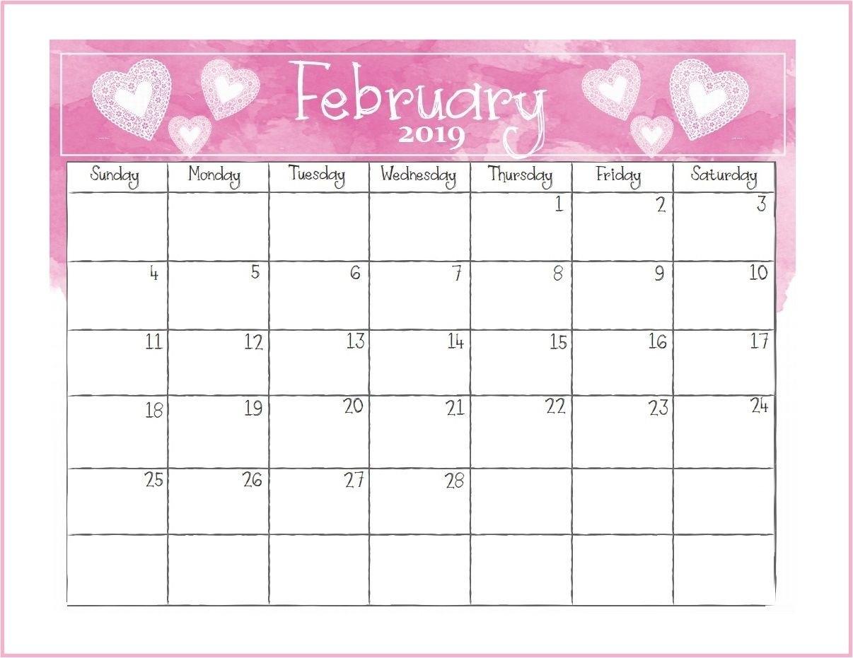 Printable February 2019 Desk Calendar   Monthly Calendar Templates Rock N Roll Calendar 2019