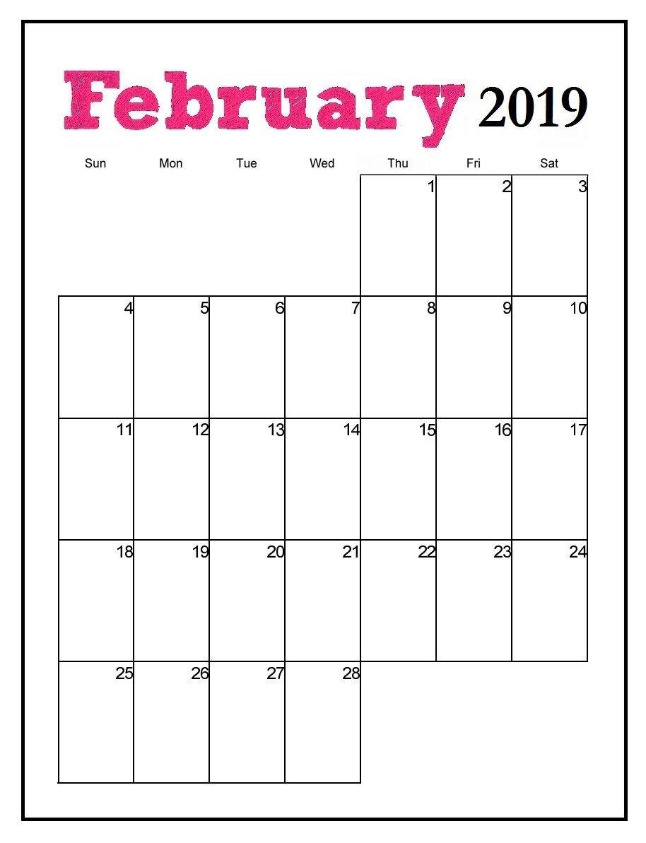 Printable February 2019 Vertical Calendar   Maxcalendars   Pinterest Calendar 2019 Vertical