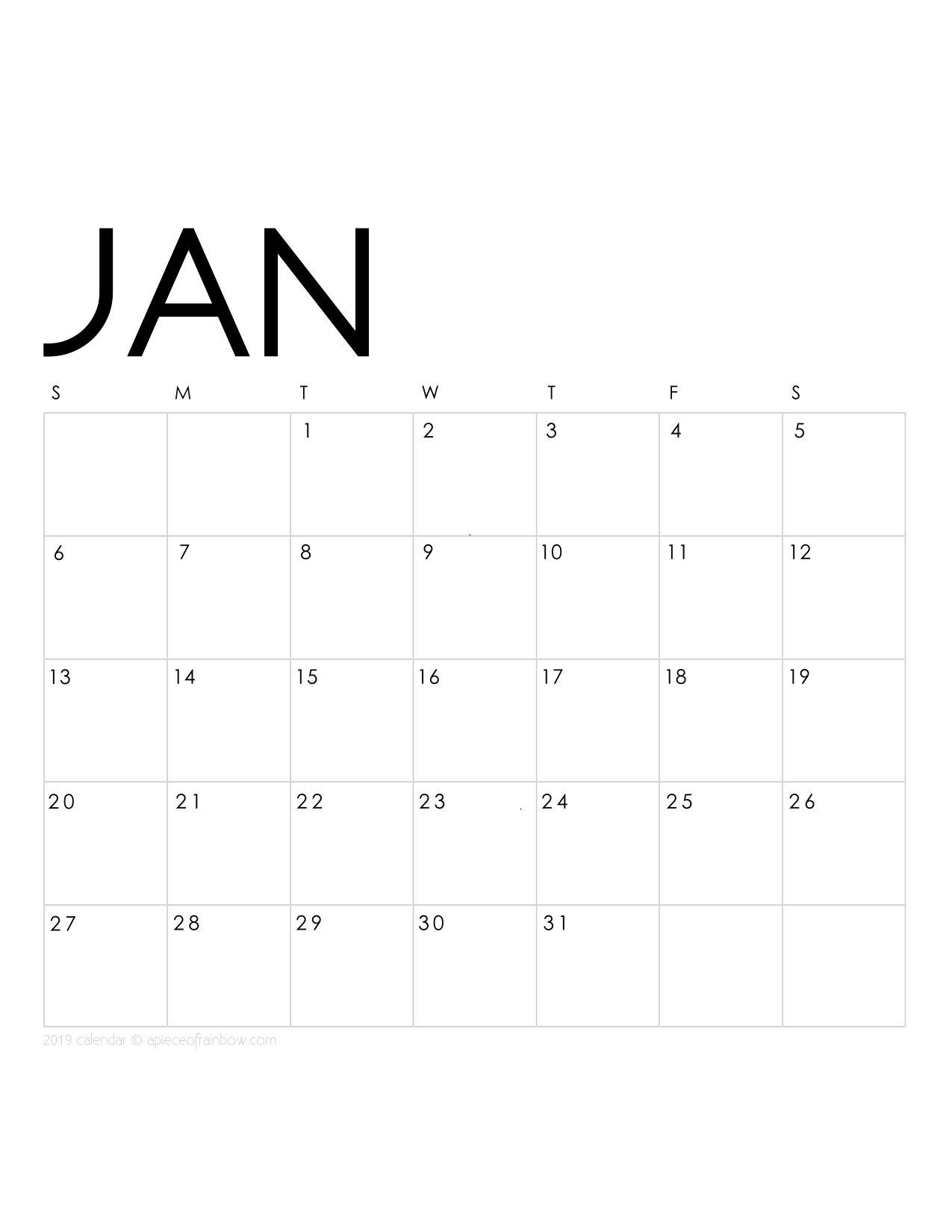 Printable January 2019 Calendar Monthly Planner {2 Designs: Flowers January 2 2019 Calendar