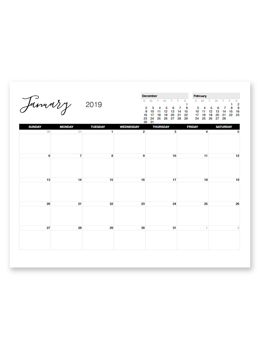 Printable January 2019 Calendar | Printables | Pinterest | Calendar 2019 Calendar 8.5 X 11