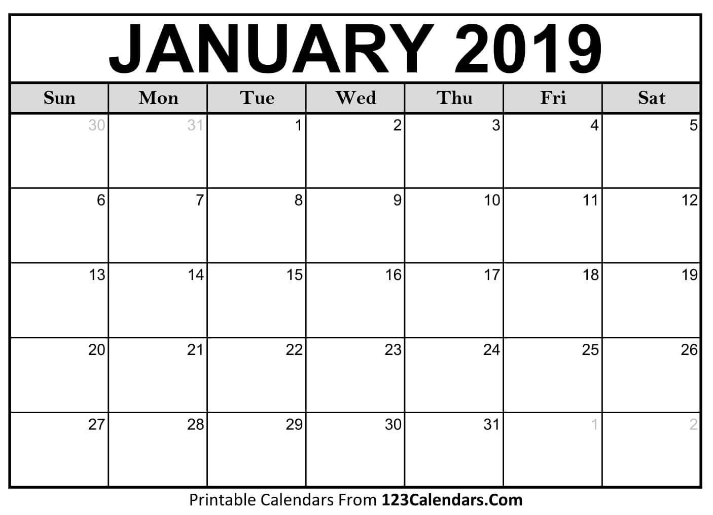 Printable January 2019 Calendar Templates – 123Calendars 2019 Calendar 1 Sheet