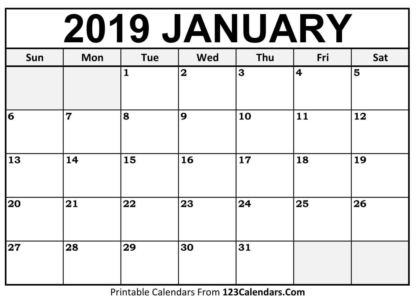Printable January 2019 Calendar Templates – 123Calendars January 2 2019 Calendar