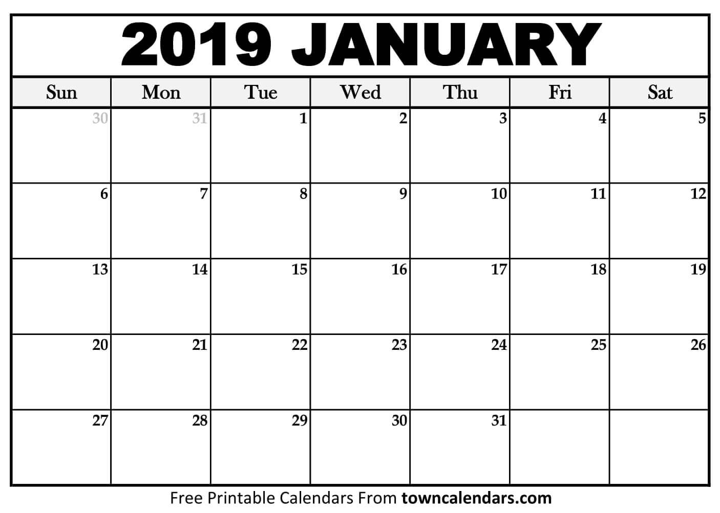 Printable January 2019 Calendar – Towncalendars Calendar 2019 Jan