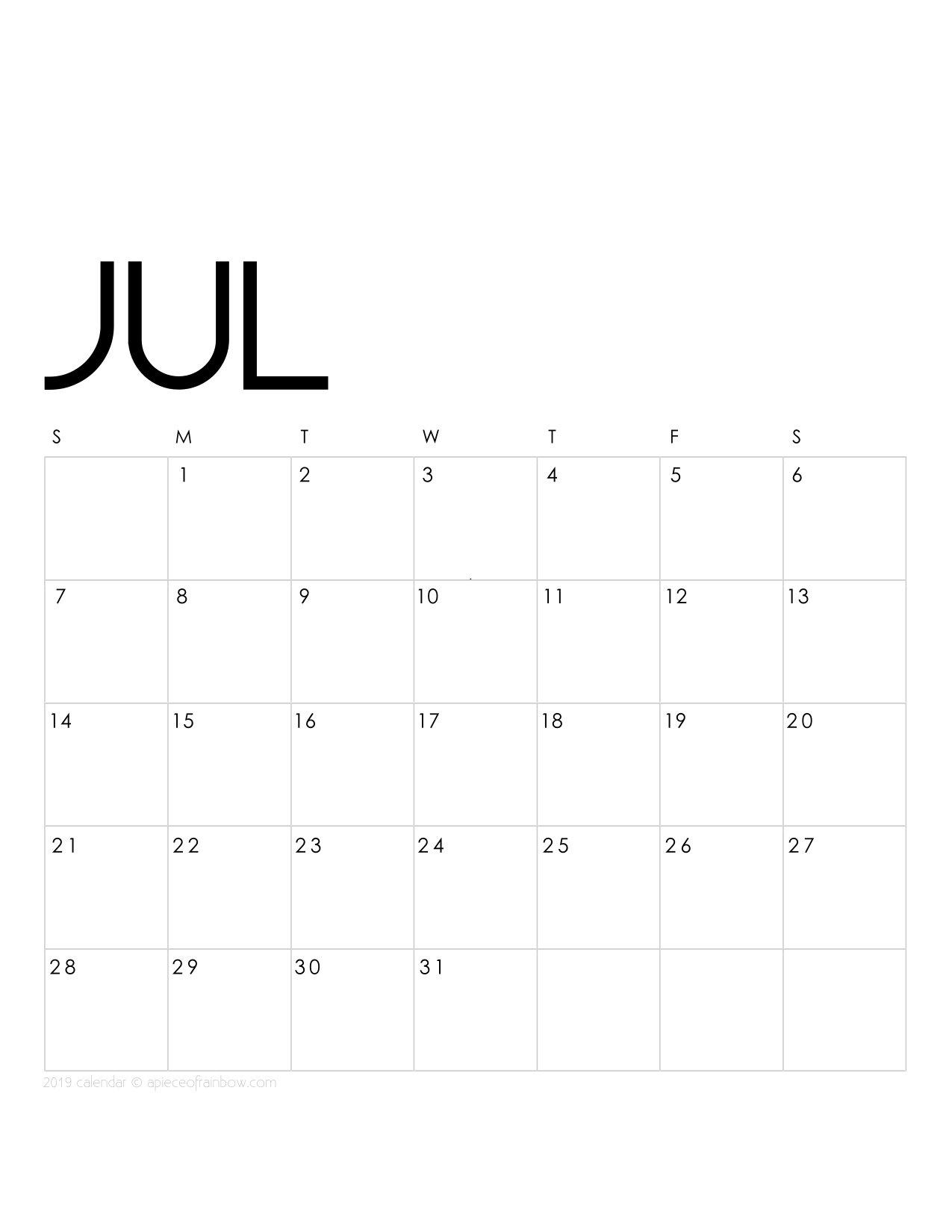 Printable July 2019 Calendar Monthly Planner {2 Designs: Flowers July 2 2019 Calendar