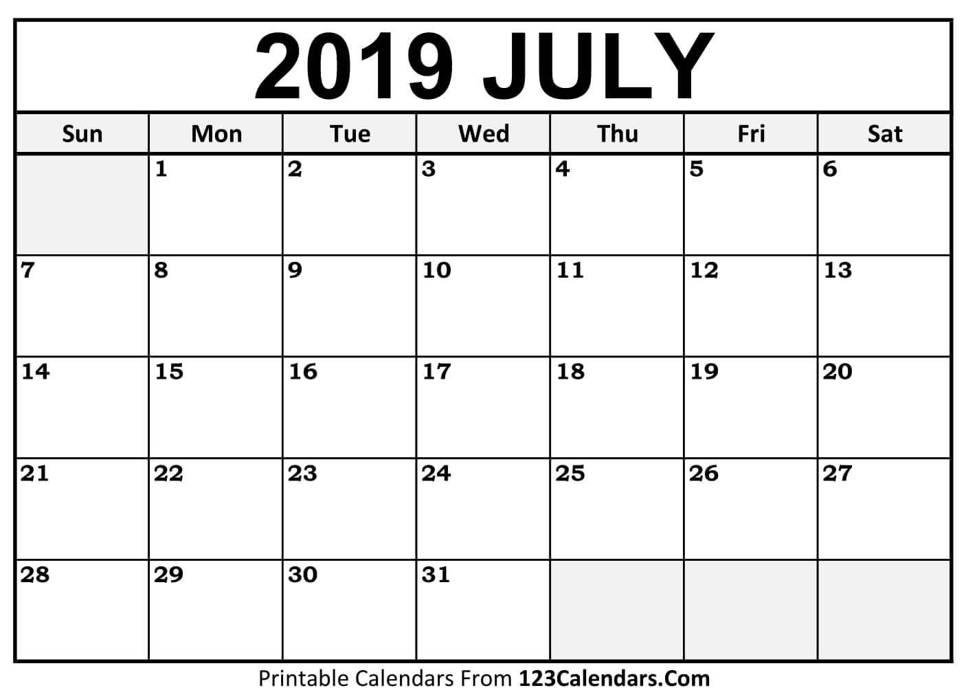 Printable July 2019 Calendar Templates – 123Calendars July 2 2019 Calendar