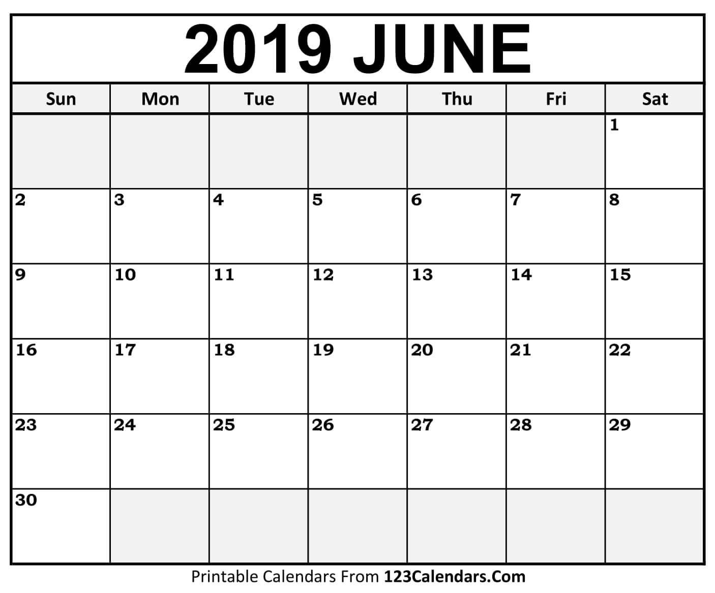 Printable June 2019 Calendar Templates – 123Calendars Calendar 2019 June