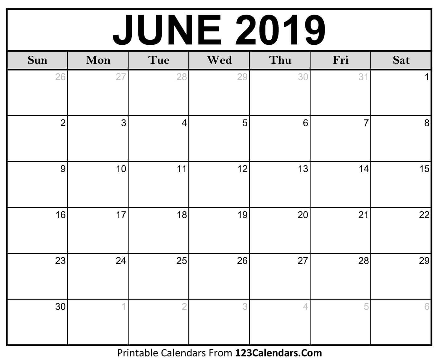Printable June 2019 Calendar Templates - 123Calendars Calendar 2019 June
