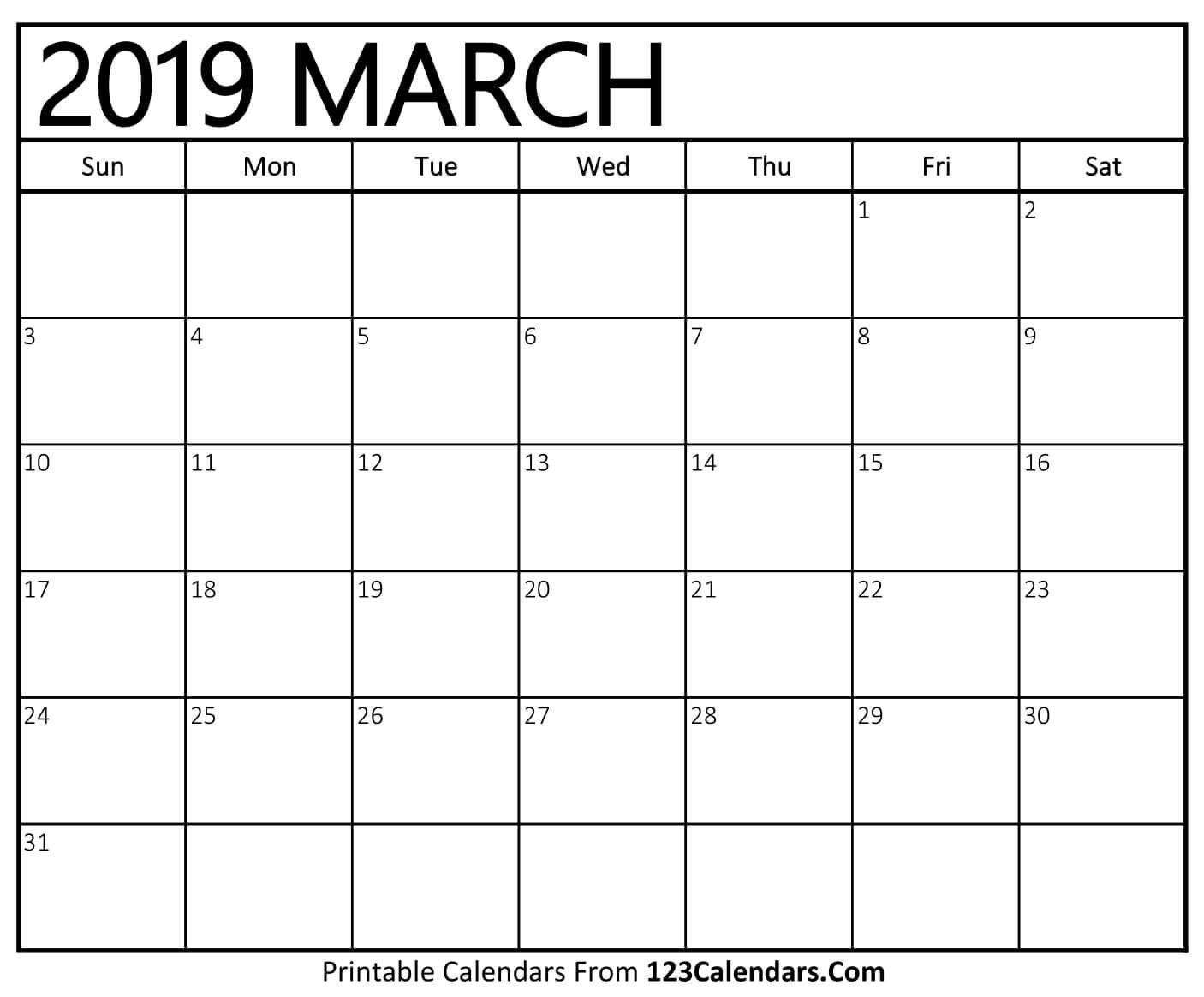 Printable March 2019 Calendar Templates – 123Calendars Calendar 2019 March