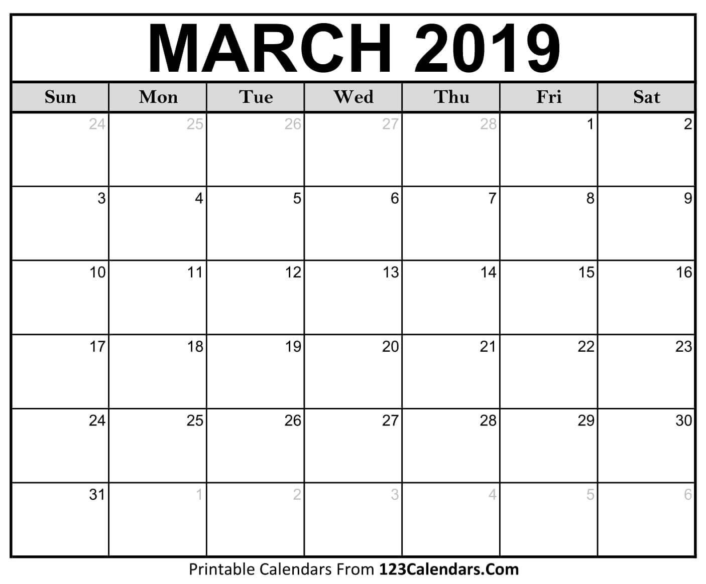 Printable March 2019 Calendar Templates – 123Calendars Calendar Of 2019 March