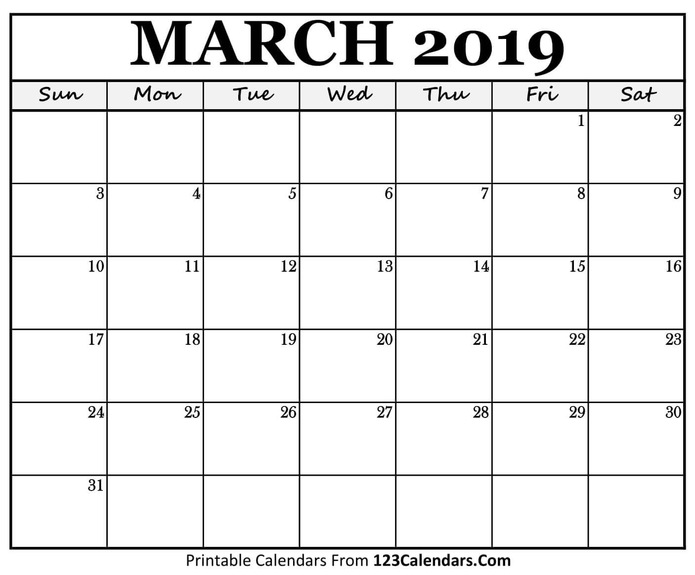 Printable March 2019 Calendar Templates – 123Calendars March 4 2019 Calendar