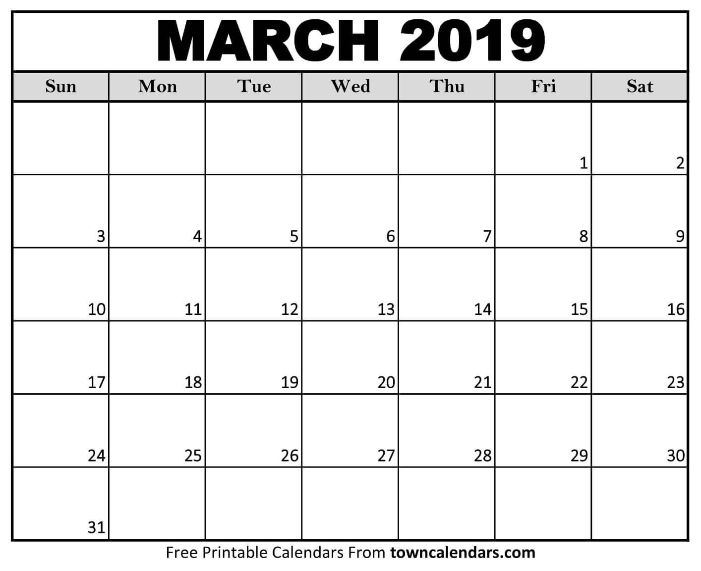Printable March 2019 Calendar – Towncalendars Calendar Of 2019 March