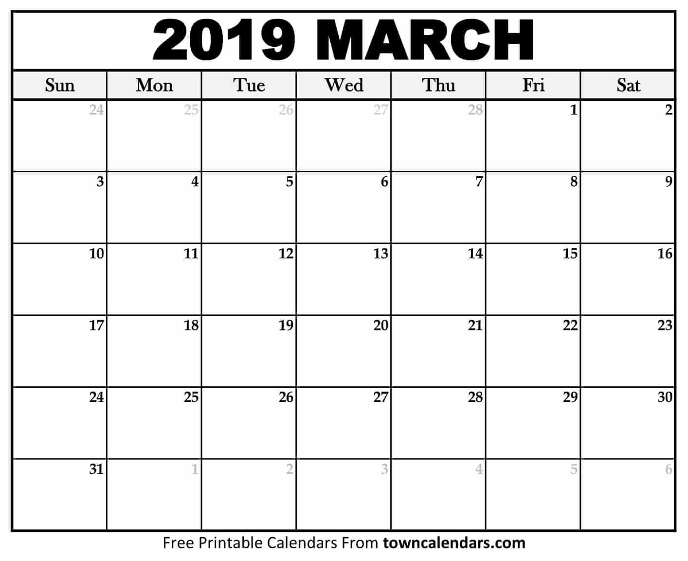 Printable March 2019 Calendar – Towncalendars March 2 2019 Calendar