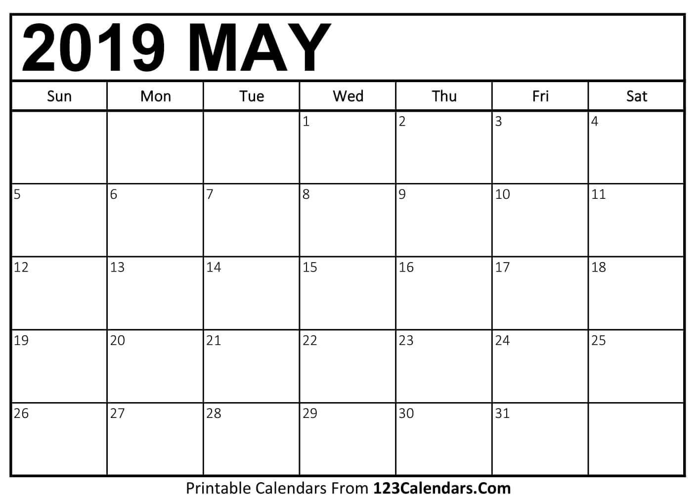 Printable May 2019 Calendar Templates – 123Calendars Calendar 2019 May