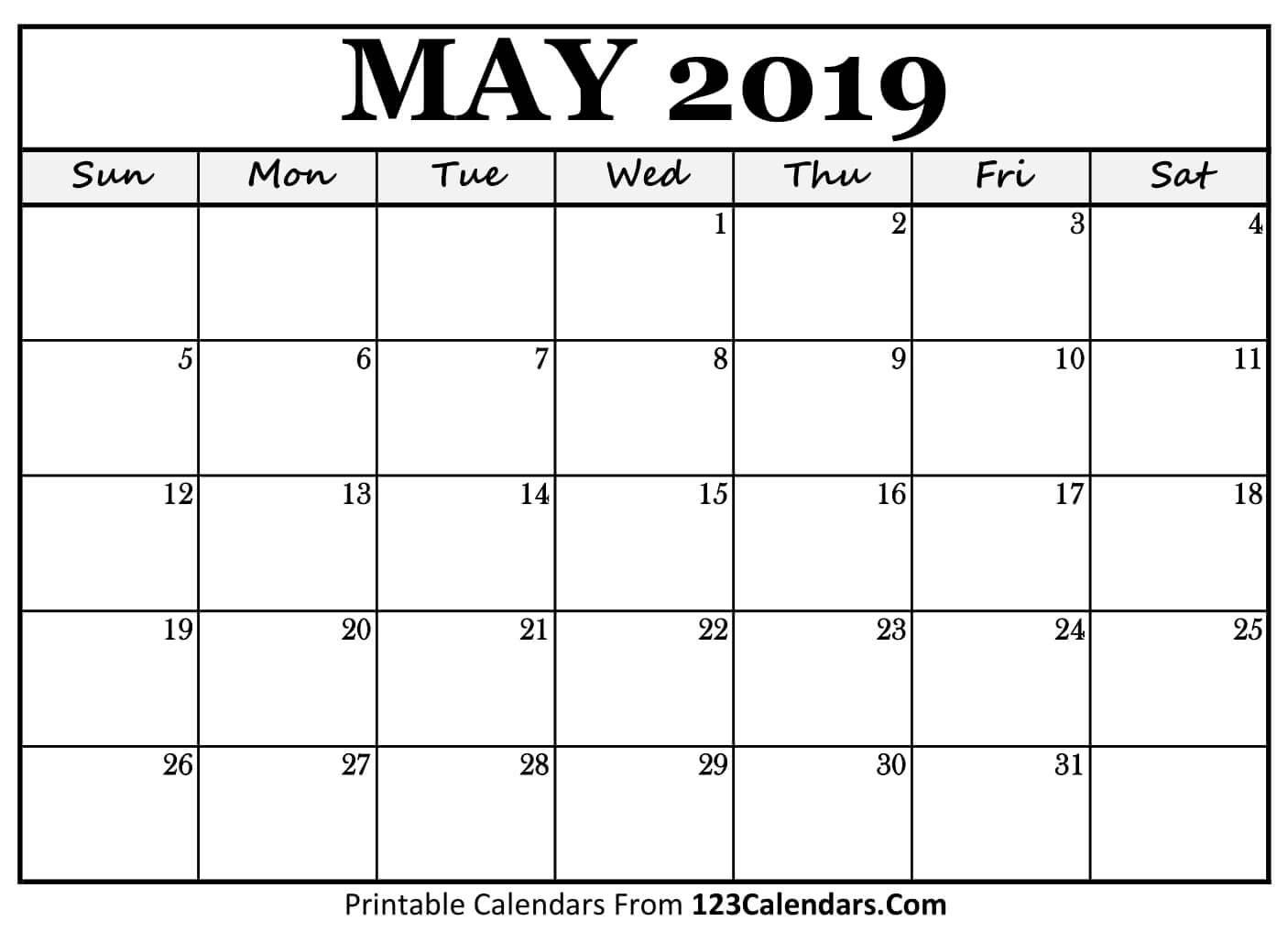 Printable May 2019 Calendar Templates – 123Calendars May 3 2019 Calendar