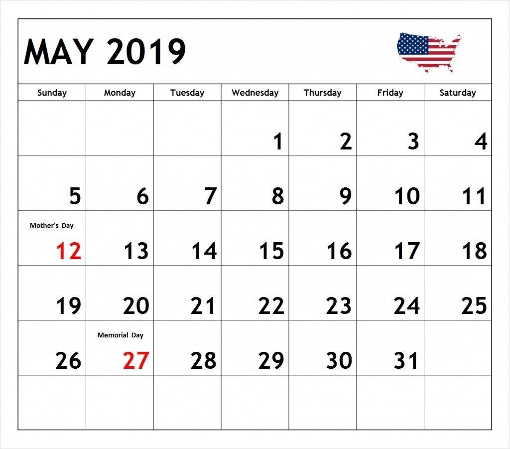 Printable May 2019 Calendar With Holidays Notes Blank Template May 1 2019 Calendar