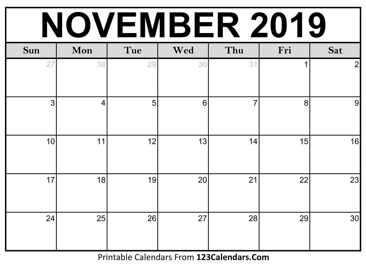Printable November 2019 Calendar Templates – 123Calendars Calendar 2019 Nov