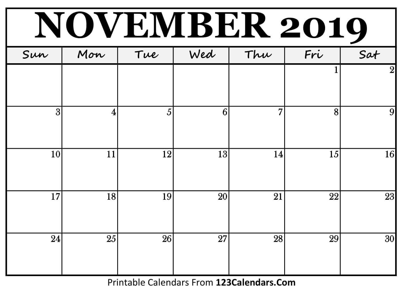 Printable November 2019 Calendar Templates – 123Calendars Calendar 2019 November