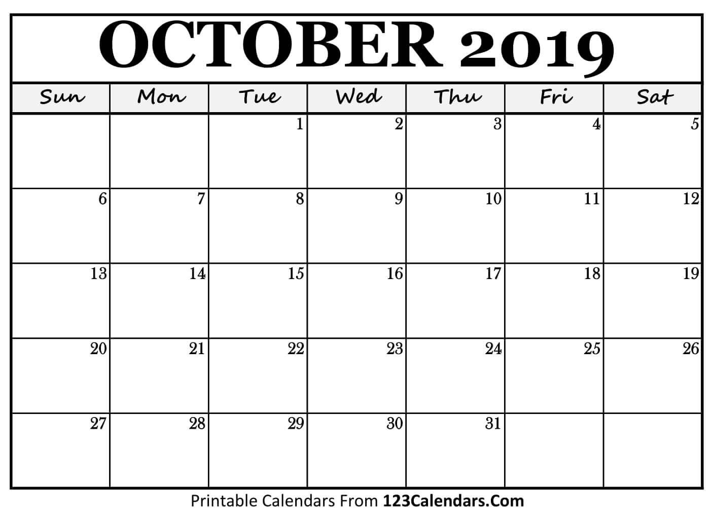 Printable October 2019 Calendar Templates – 123Calendars Calendar 2019 Oct