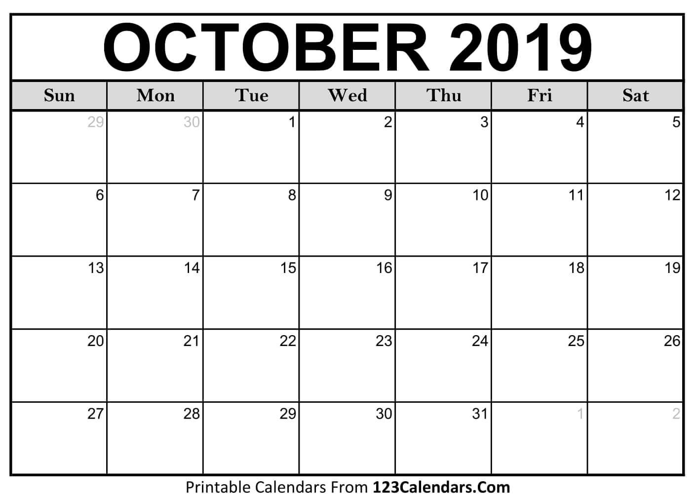 Printable October 2019 Calendar Templates – 123Calendars Calendar 2019 October