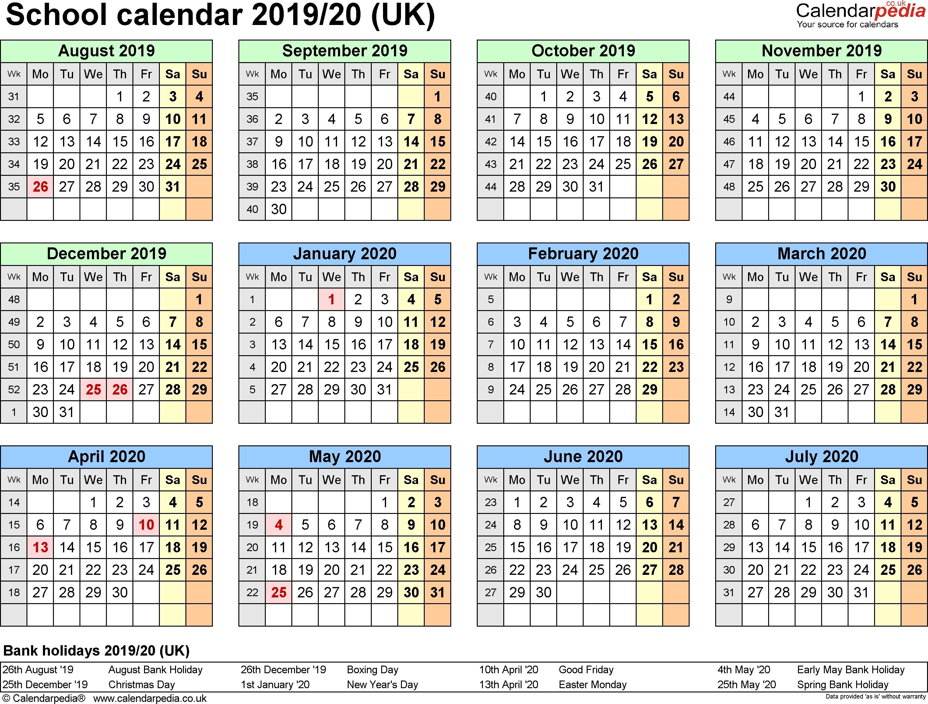 Printable School Year Calendar 2019 20 School Calendars 2019 2020 As School Calendar 2019 20