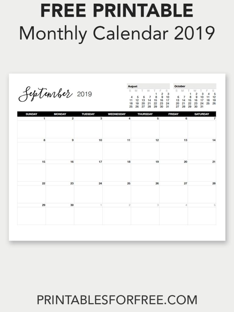 Printable September 2019 Calendar   Free Printable Calendars   Free September 7 2019 Calendar