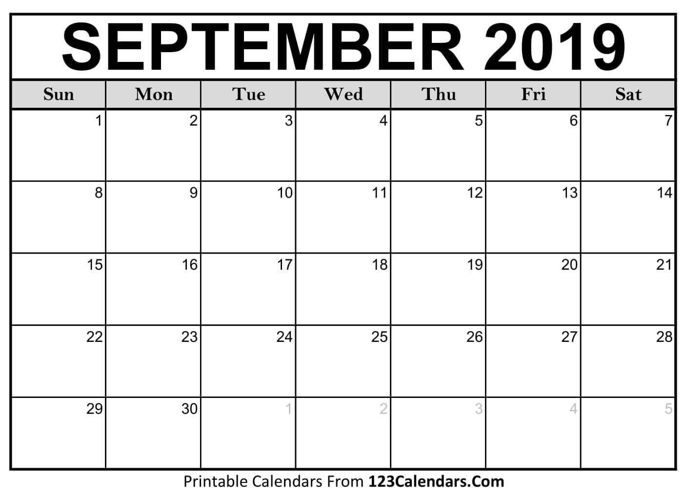 Printable September 2019 Calendar Templates – 123Calendars Calendar 2019 September