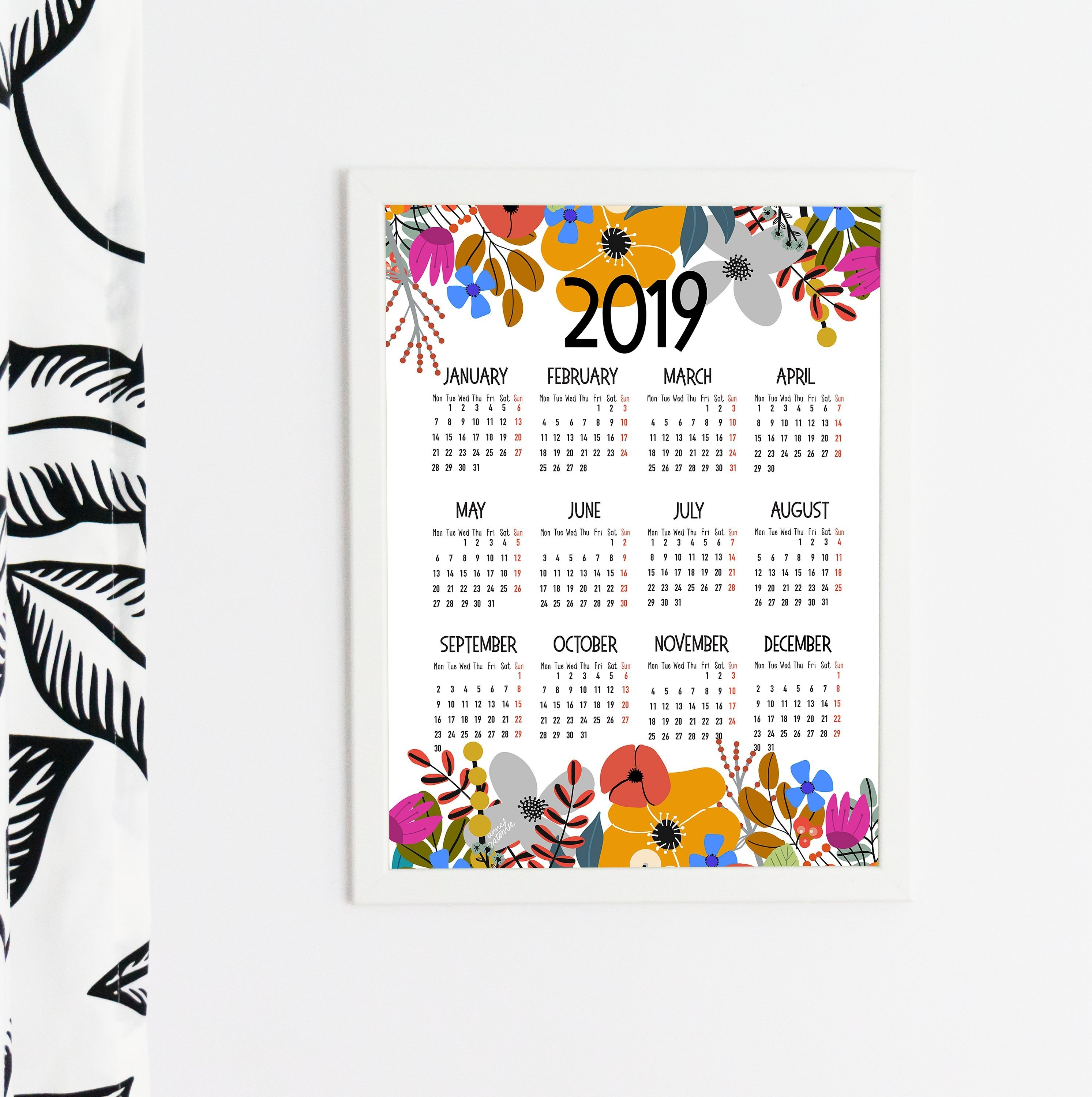 Printable Wall Calendar For 2019 With Flowers Theme. Year At A | Etsy Zis Calendar 2019