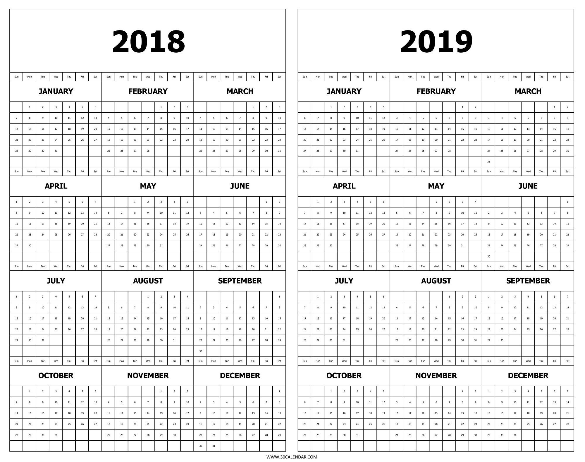 Printable Year At A Glance Calendar 2019 Calendar 2018 And 2019 Calendar 2019 Year At A Glance