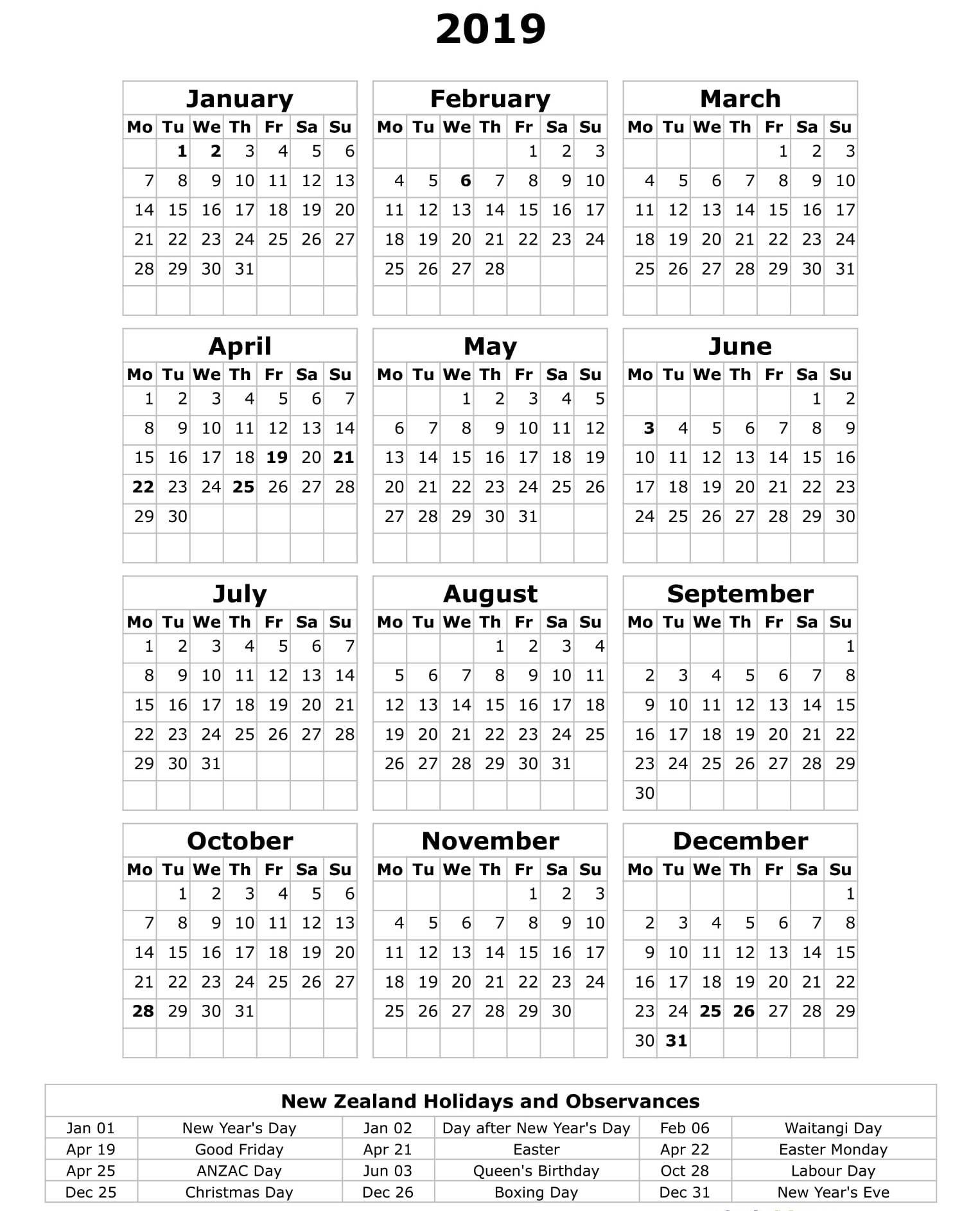 Printable Yearly Calendar 2019 Nz – Free Calendar Templates Calendar 2019 Zealand