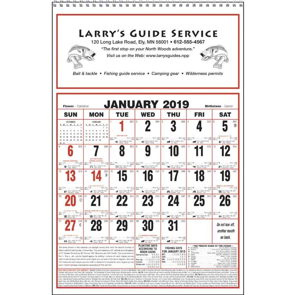 Promotional 2020 Large Almanac Calendars With Custom Logo For $1.59 Ea. $1 Calendar 2019