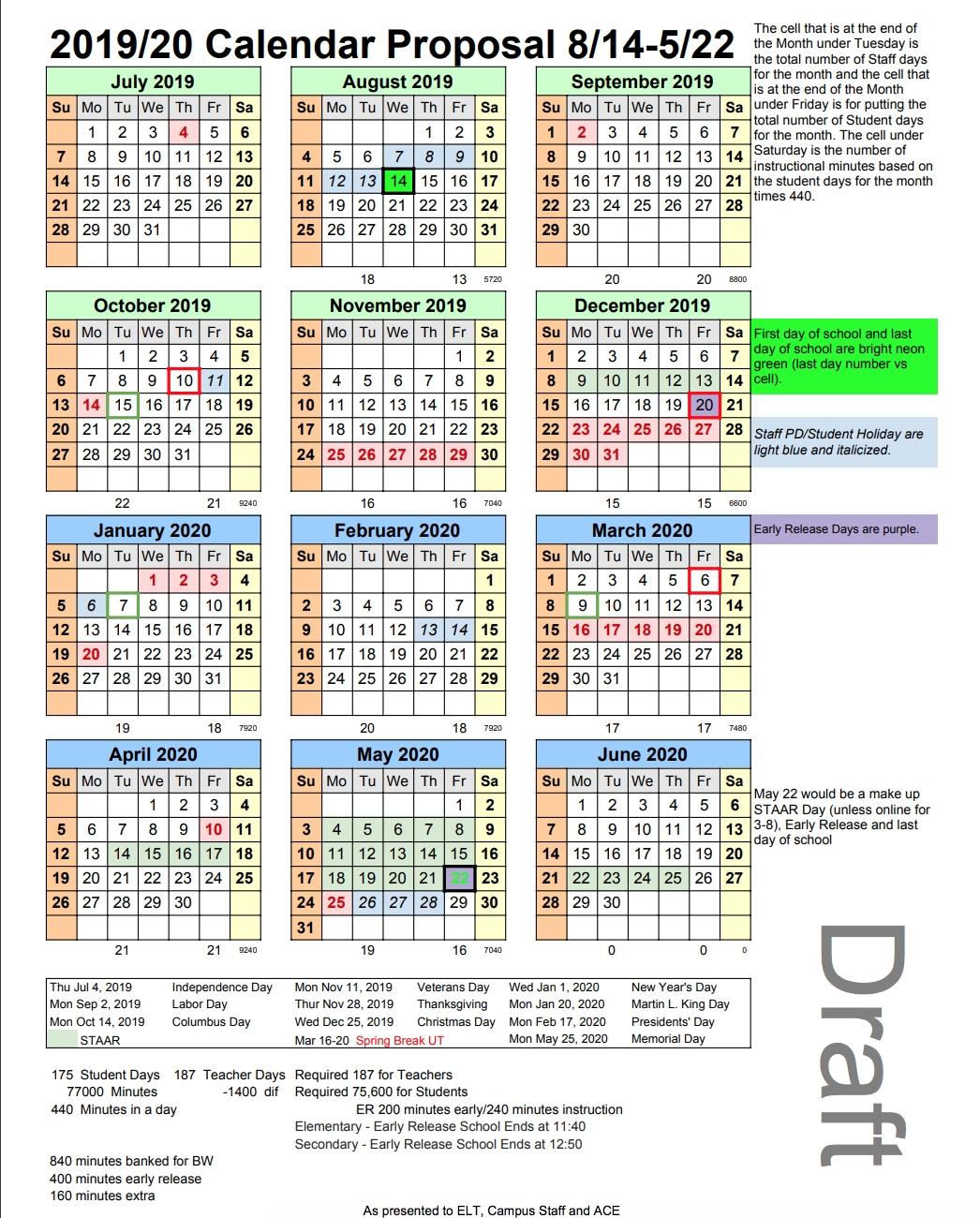 Proposed 2019-20 Academic Calendar, District Improvement Plan And Virginia Tech Academic Calendar 2019-20