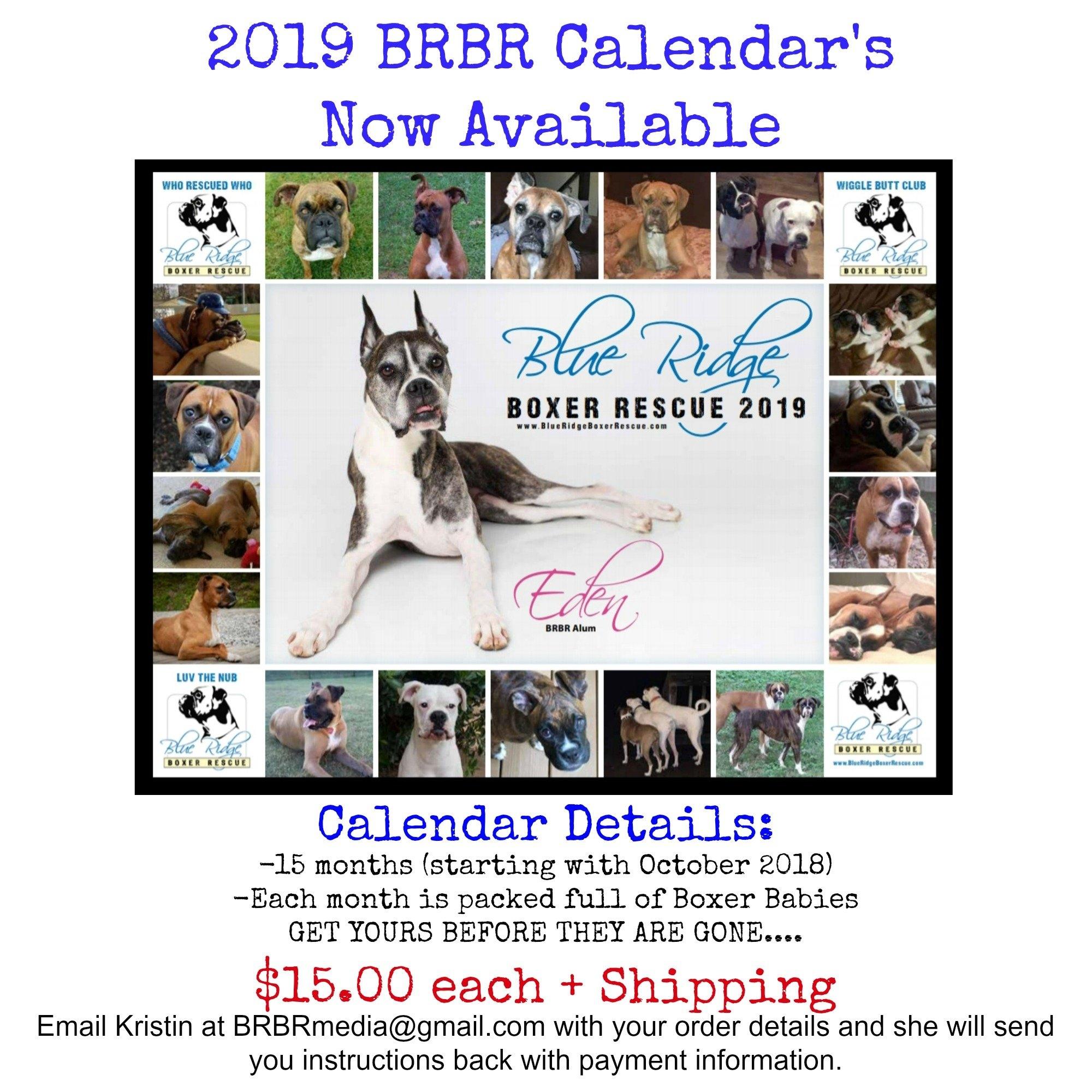 Purchase Your 2019 Calendar Today!! – Blue Ridge Boxer Rescue Calendar 2019 Purchase