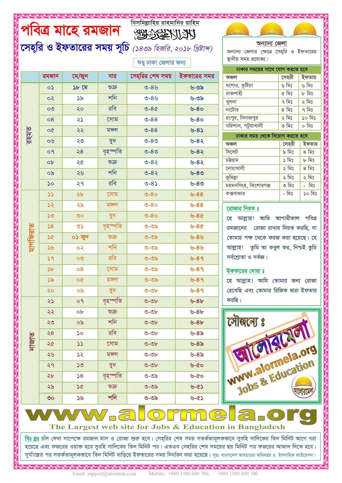 Ramadan Calendar 2018, Hijri 1439 – Alormela Calendar 2019 Ramadan