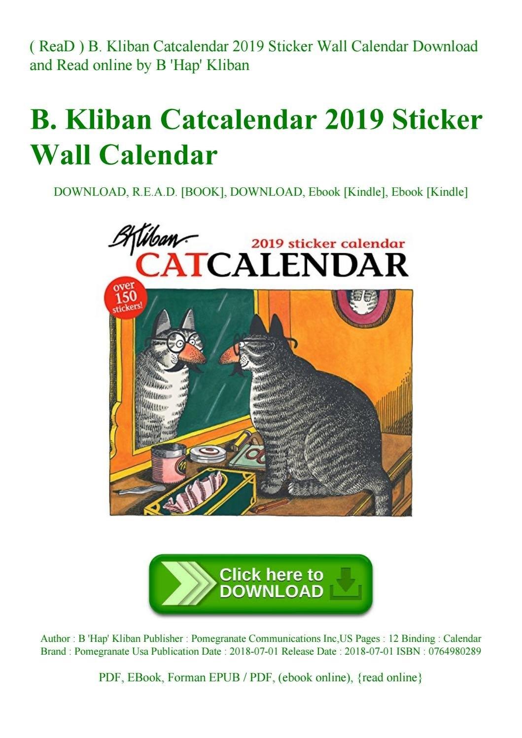 Read ) B. Kliban Catcalendar 2019 Sticker Wall Calendar Download And B Kliban Cat Calendar 2019