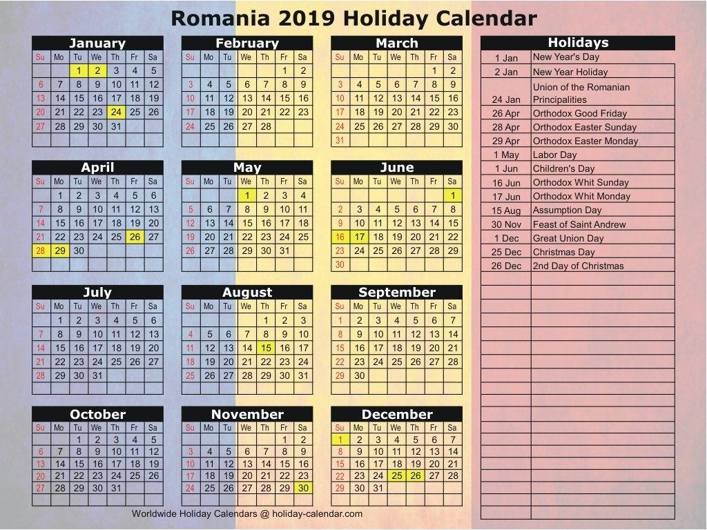 Romania 2019 / 2020 Holiday Calendar Calendar 2019 Romania Pdf