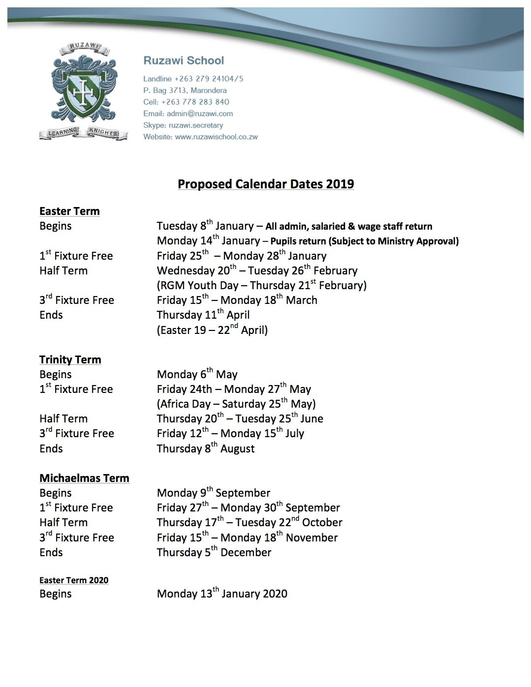 Ruzawi School – Term Dates 2019 School Calendar 2019 Zimbabwe