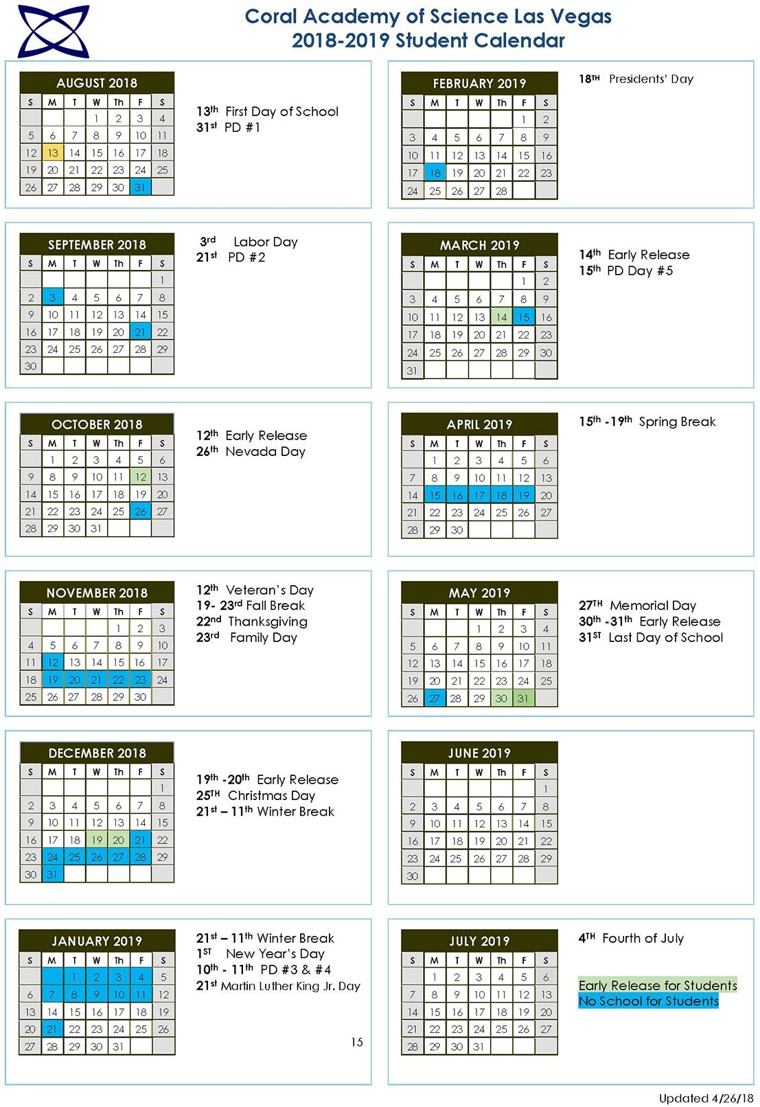 School Calendar 2018 2019 | Coral Academy Of Science Las Vegas Calendar 2019 Thanksgiving