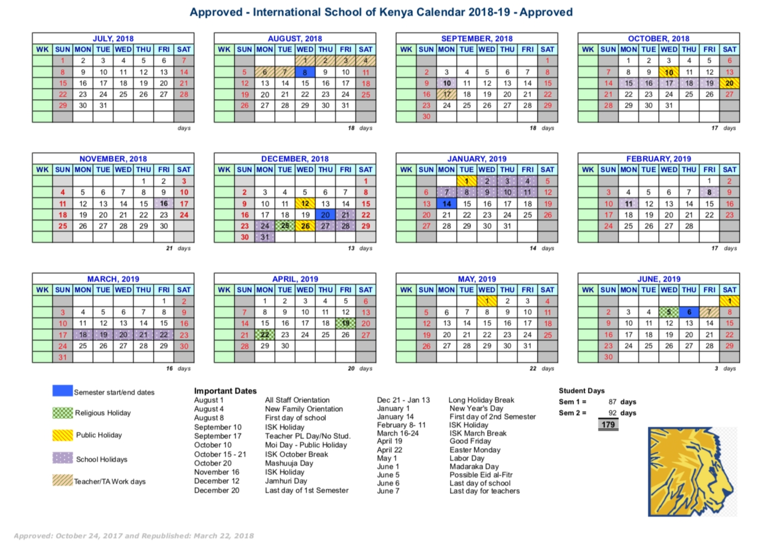 School Calendar – International School Of Kenya Calendar 2019 Kenya
