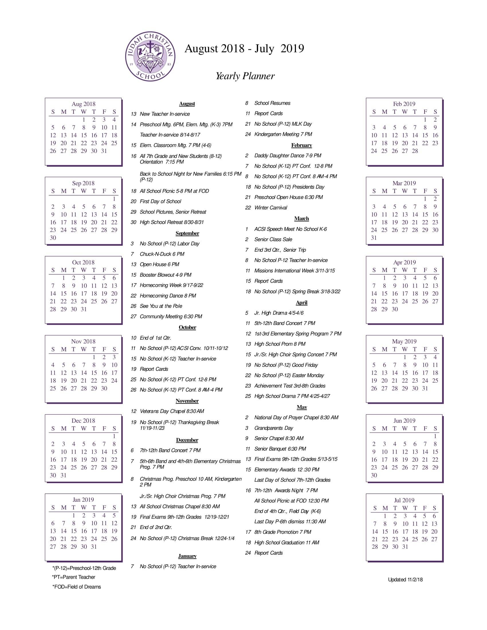 School Calendar – Judah Christian School Calendar 2019 Christian