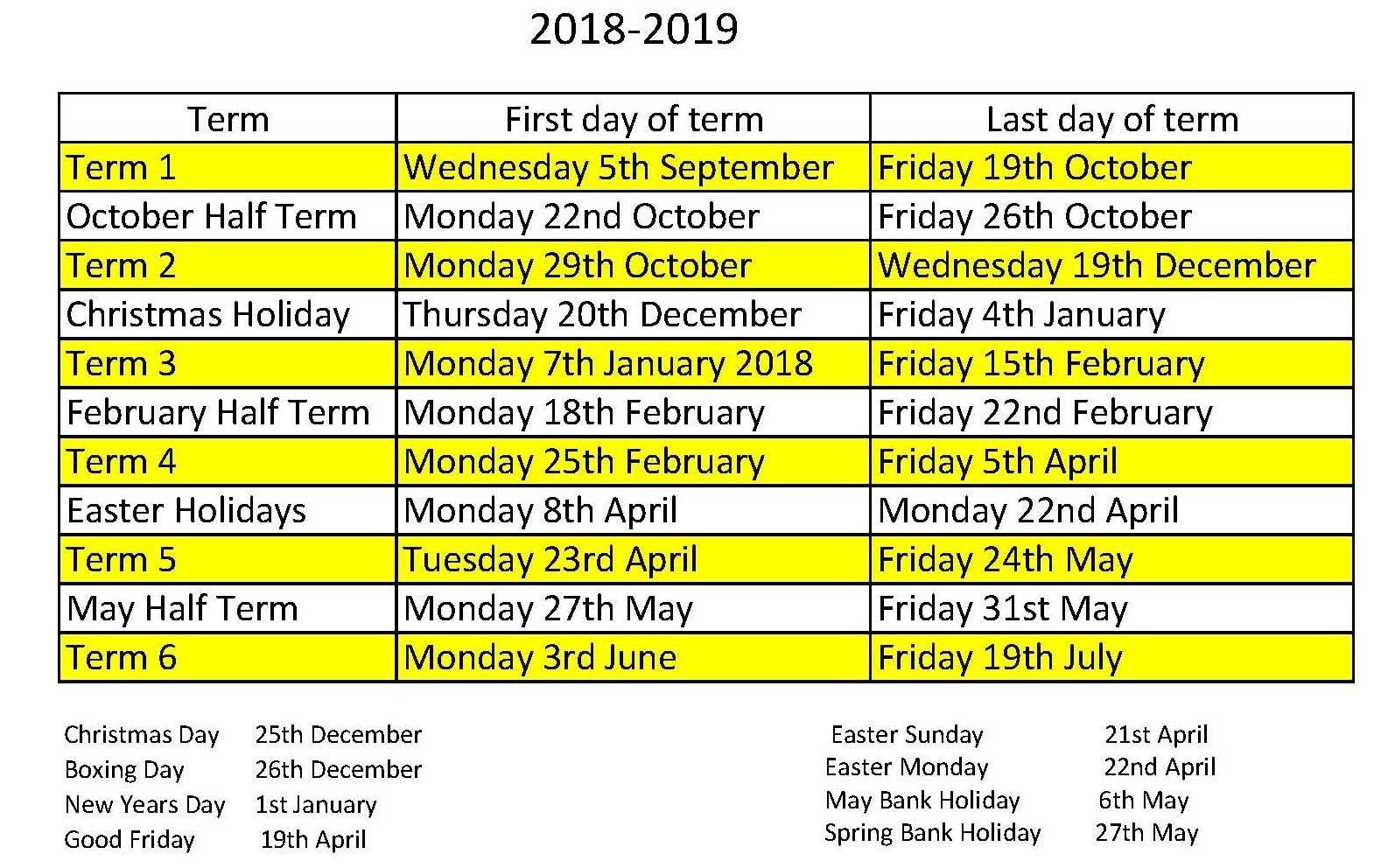 School Calendar – Oakwood Primary Academy Calendar 2019 Good Friday