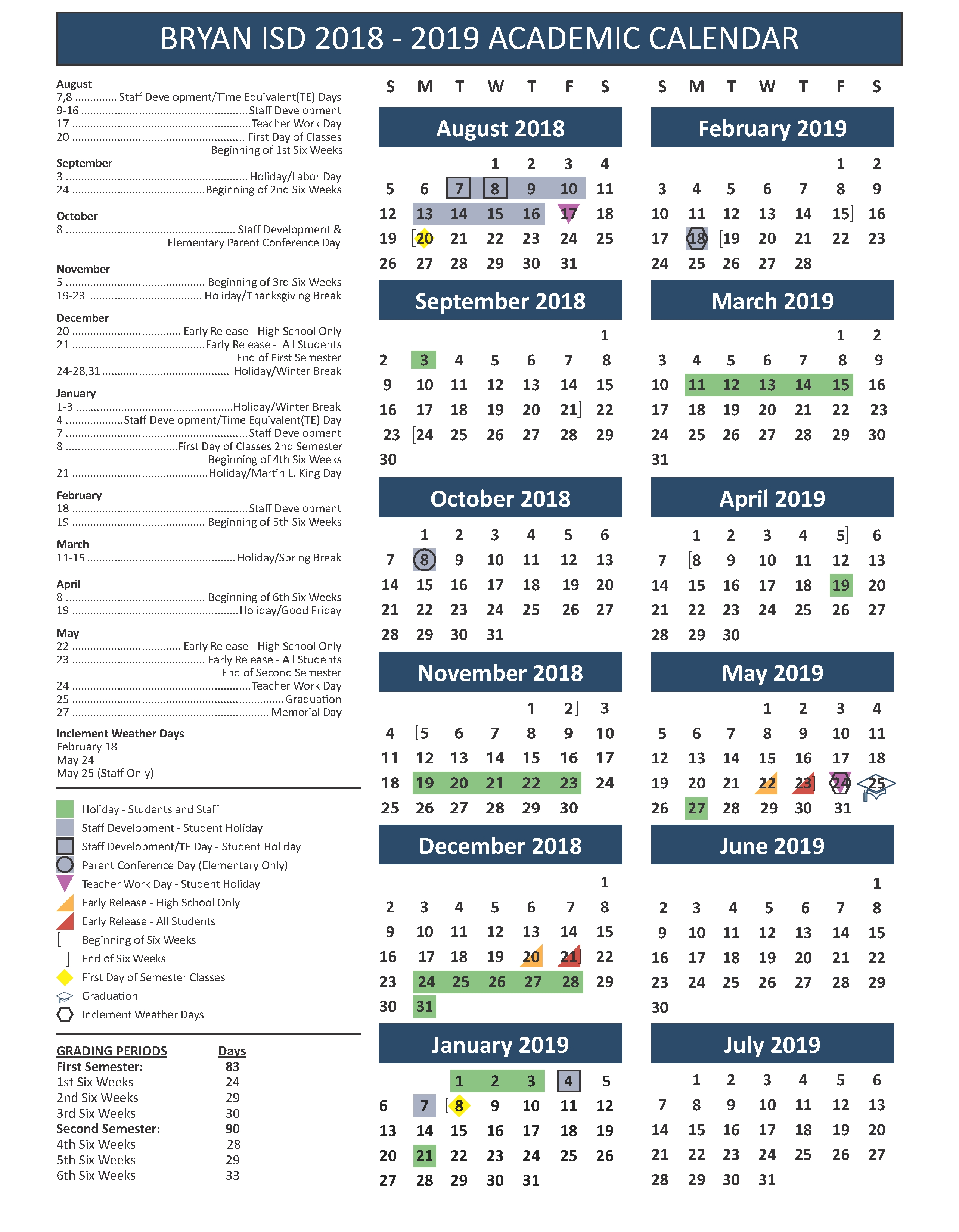 School Calendar, Testing & Fine Arts/athletics Events Stephen F Austin Calendar 2019