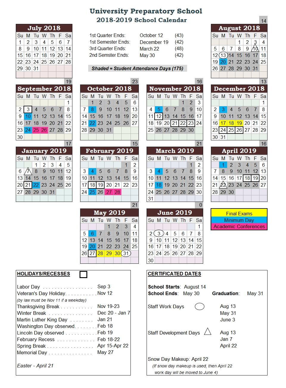School Calendar U Of W Calendar 2019