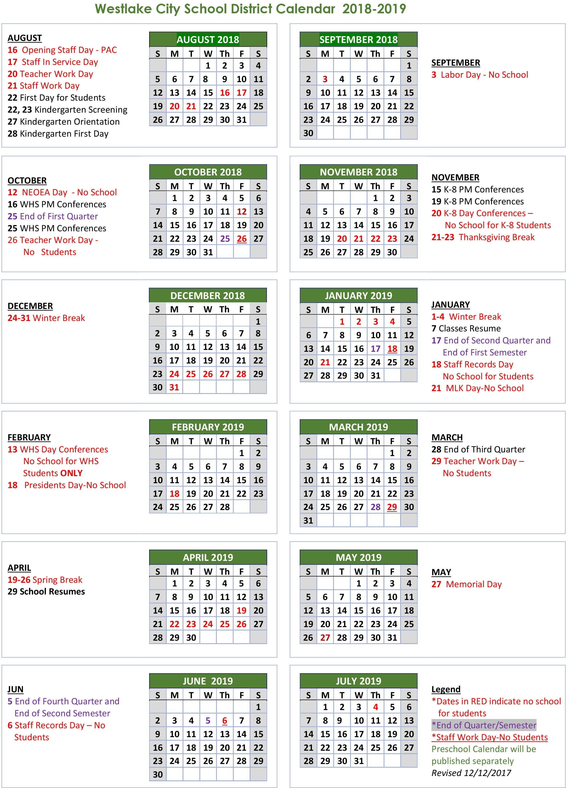 School Calendar - Westlake City School District Unit 5 Calendar 2019