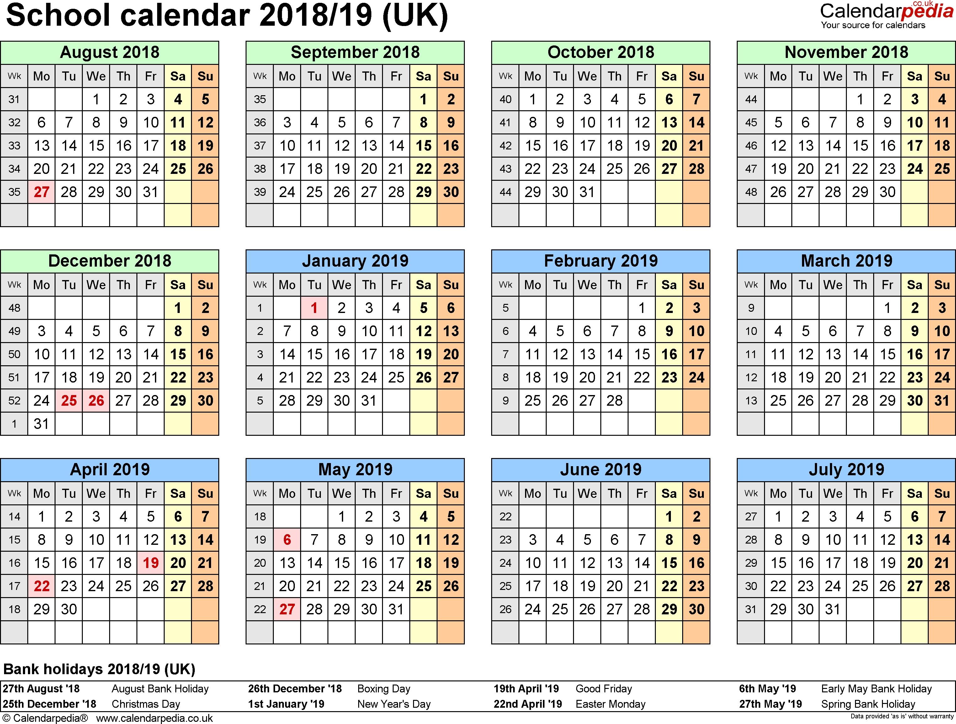School Calendars 2018/2019 As Free Printable Word Templates Calendar 2019 Ireland