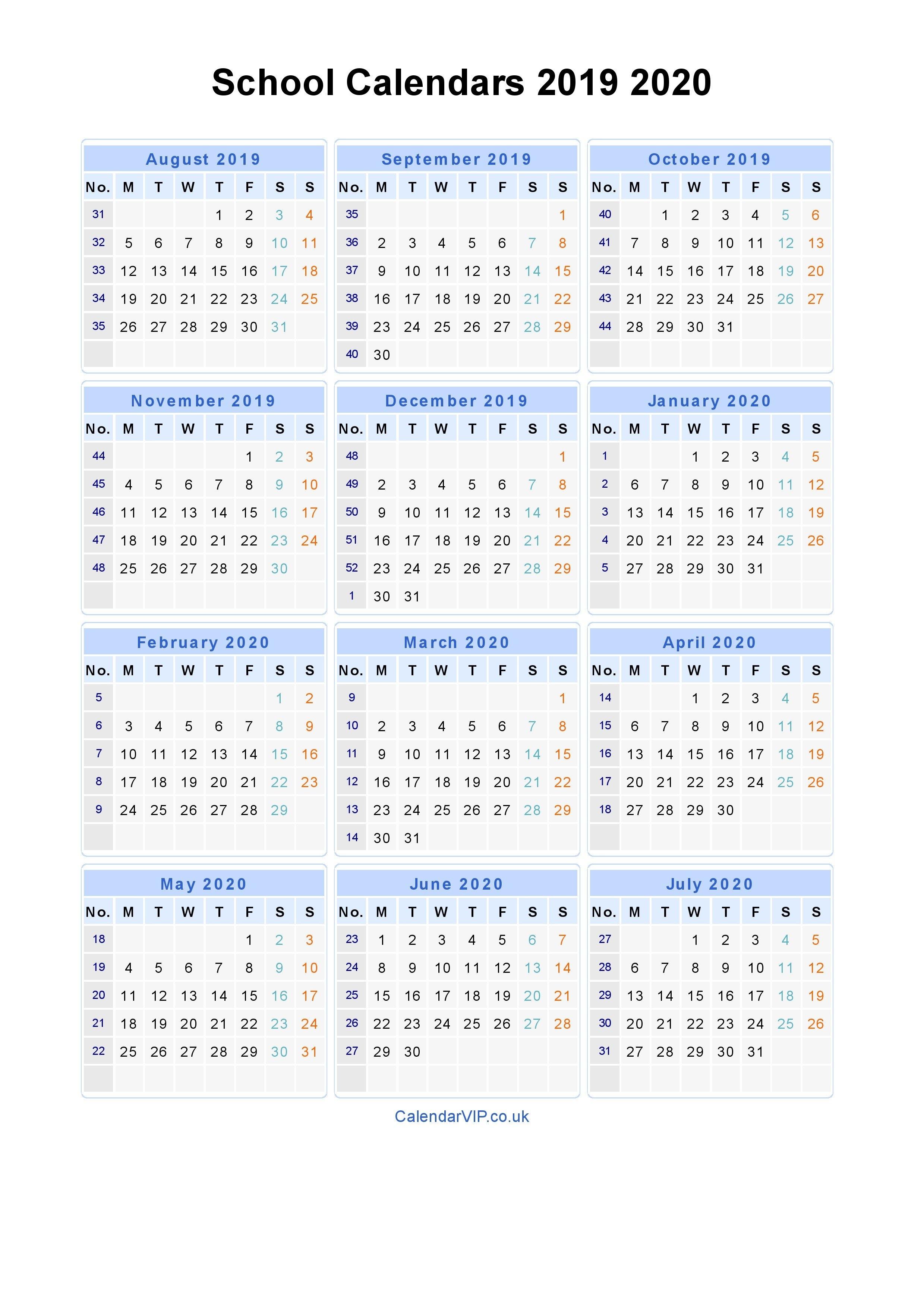 School Calendars 2019 2020 – Calendar From August 2019 To July 2020 2019 Calendar 2020 Printable