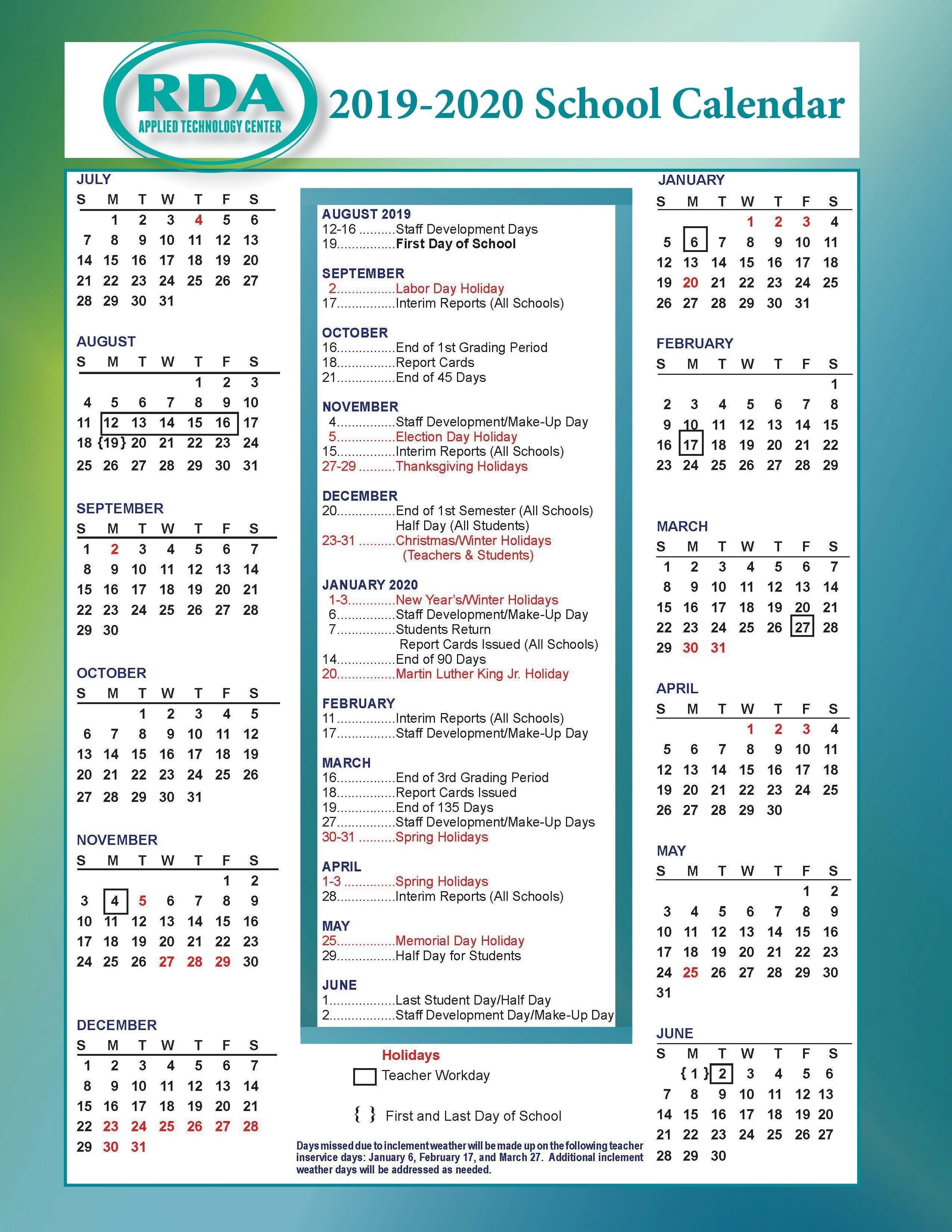 School Calendars – Parent/student Resources – Rd Anderson Atc Spartanburg District 6 2019 Calendar
