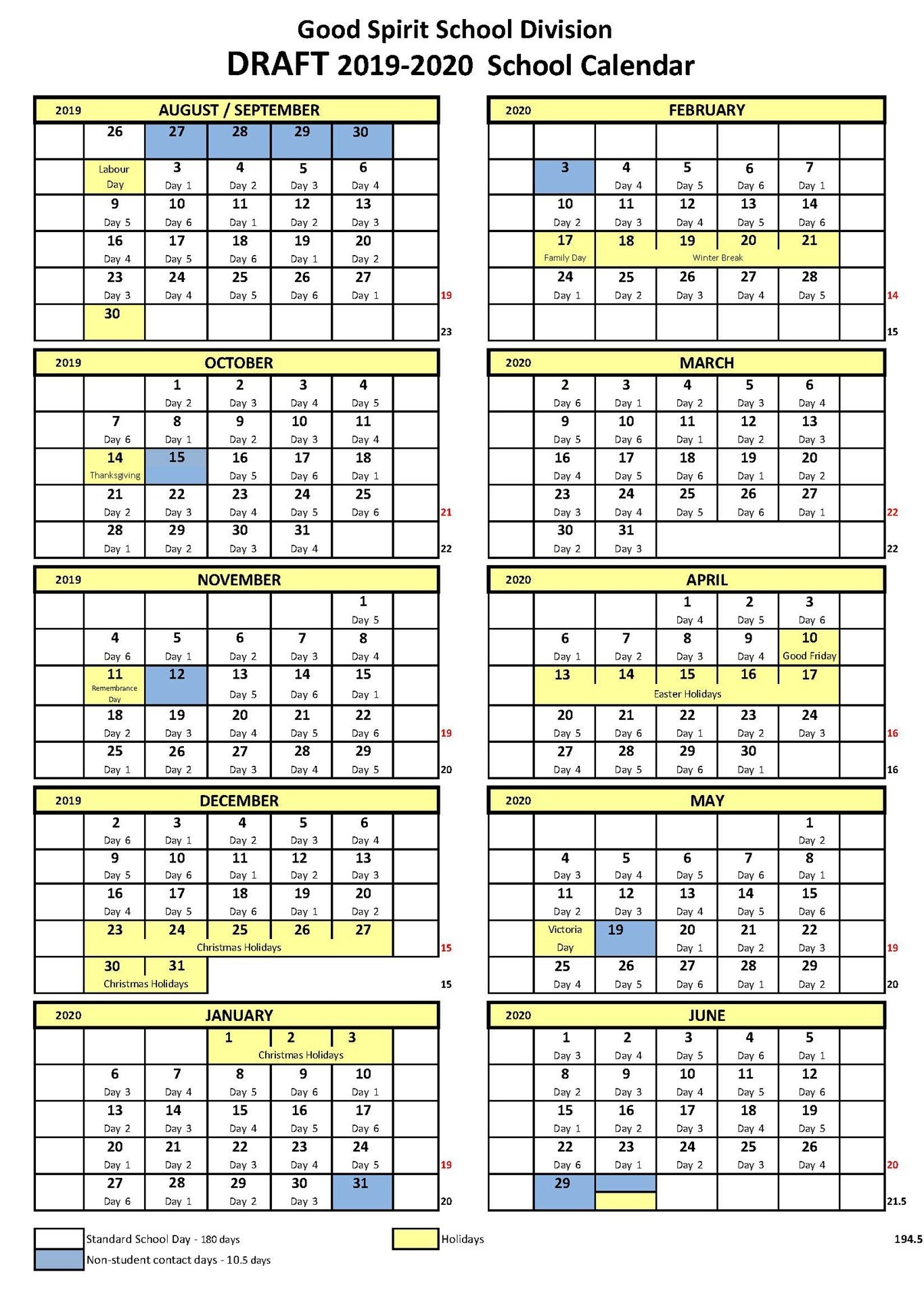 School Year Calendar – Good Spirit School Division 204 Ccsd Calendar 2019 20