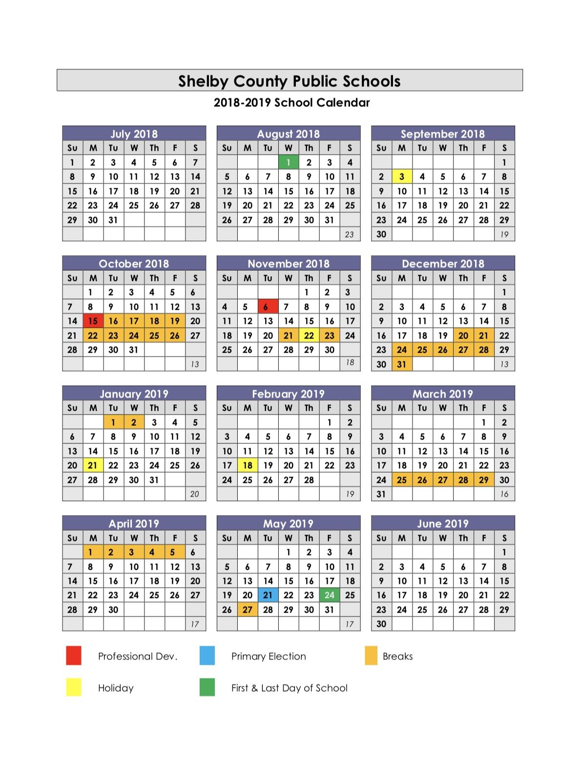 School Year Calendars / 2018 2019 School Calendar Calendar 2019 19