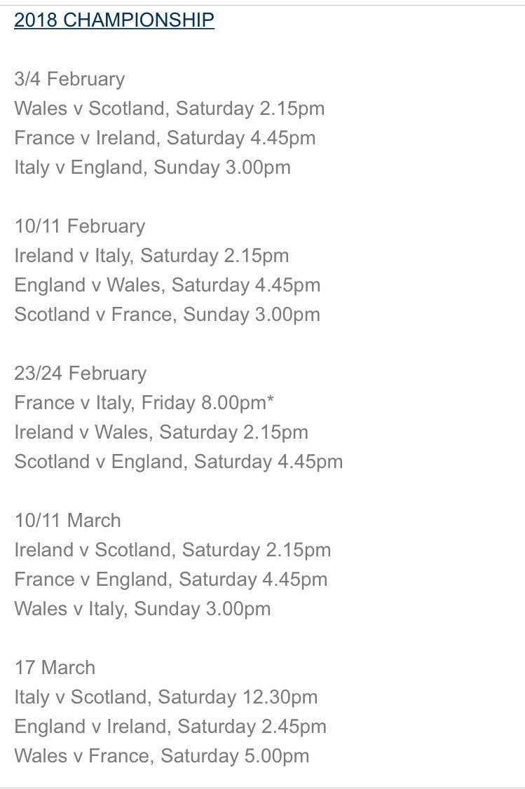"""Scottish Rugby On Twitter: """"breaking   Fixtures Confirmed For 2018 6 Nations Calendar 2019"""