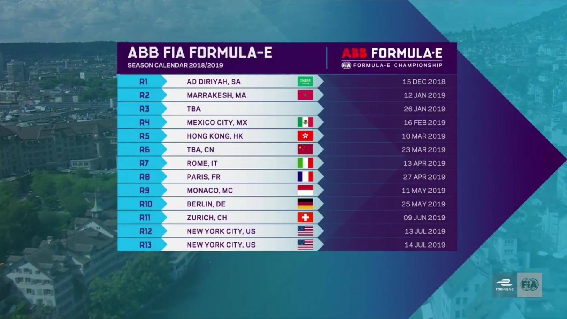 Season 5 Calendar : Formulae Fia Formula E Calendar 2019